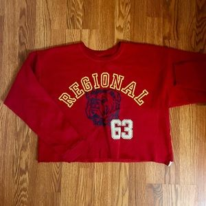 Sweaters - Red bulldog cropped crew neck sweater!